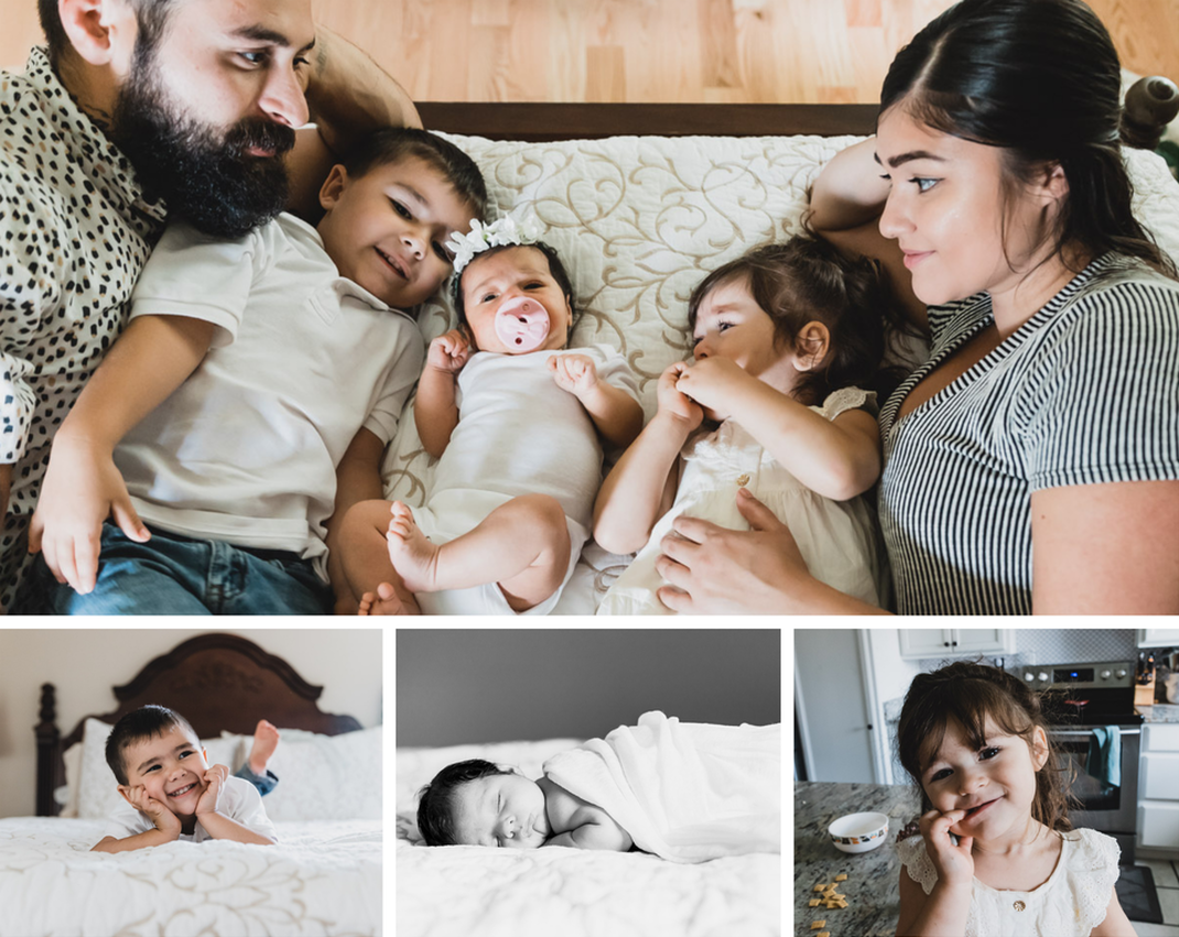Collage of family of five with newborn, family laying on bed, toddler boy on bed, newborn sleeping on bed, toddler girl in kitchen