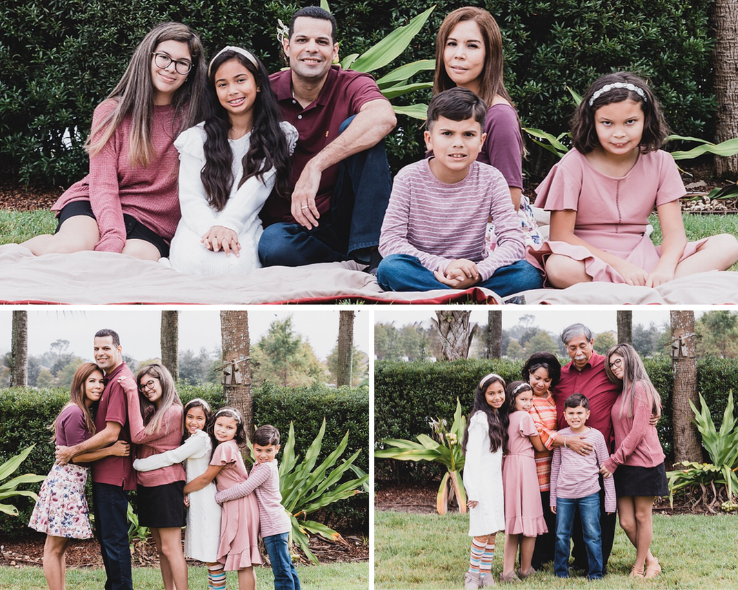 Collage of family of six sitting on ground, children hugging parents in straight line, grandchildren with grandparents, outdoors, lifestyle family photography, Lakewood Ranch, Florida