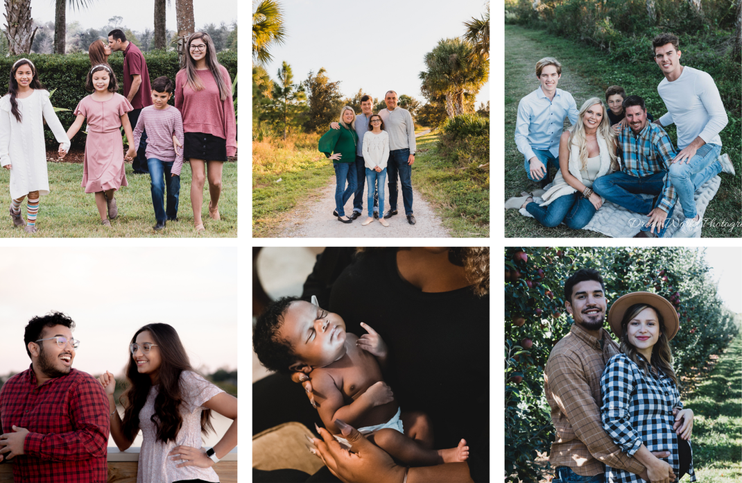 Collage of various lifestyle maternity, newborn and family photo sessions, Celery Fields, Sarasota, Florida, Lakewood Ranch, Florida, Bradenton, Florida, Shaw Orchards, White Hall, Maryland