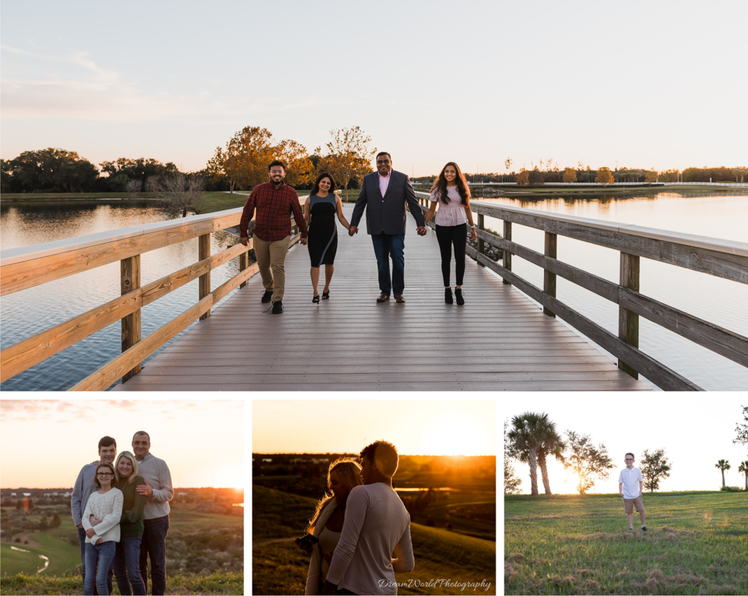 Collage of various lifestyle family photo session, Lakewood Ranch, Celery Fields, Sarasota, Florida