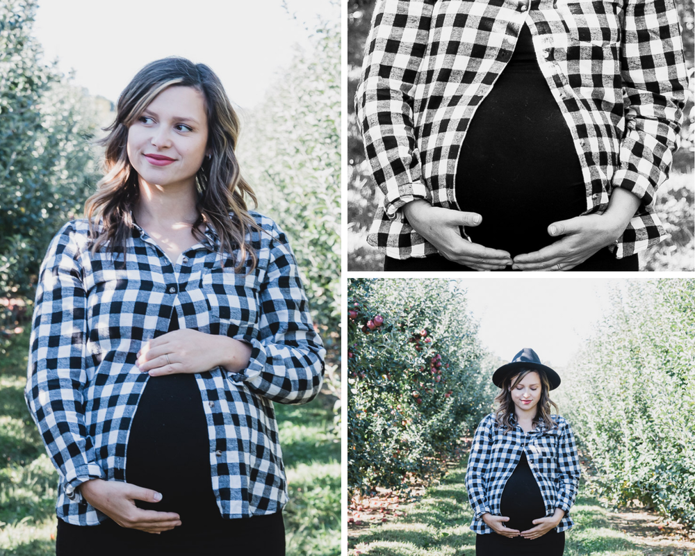 Maternity photoshoot, mom alone, apple orchard