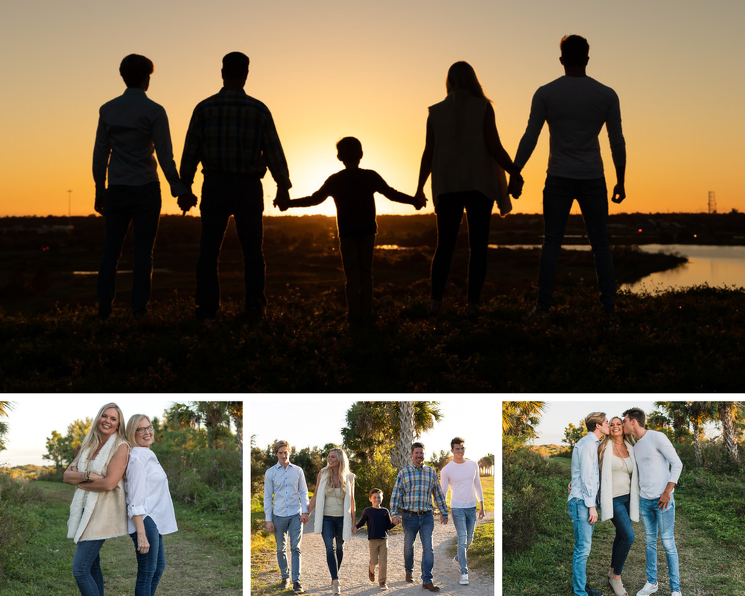 Collage of family standing on hill facing sunset, silhouette, golden hour, Celery Fields, Sarasota, Florida, mom and daughter standing back to back, family of five walking on rock trail towards camera, sons kissing mom on cheek standing outside
