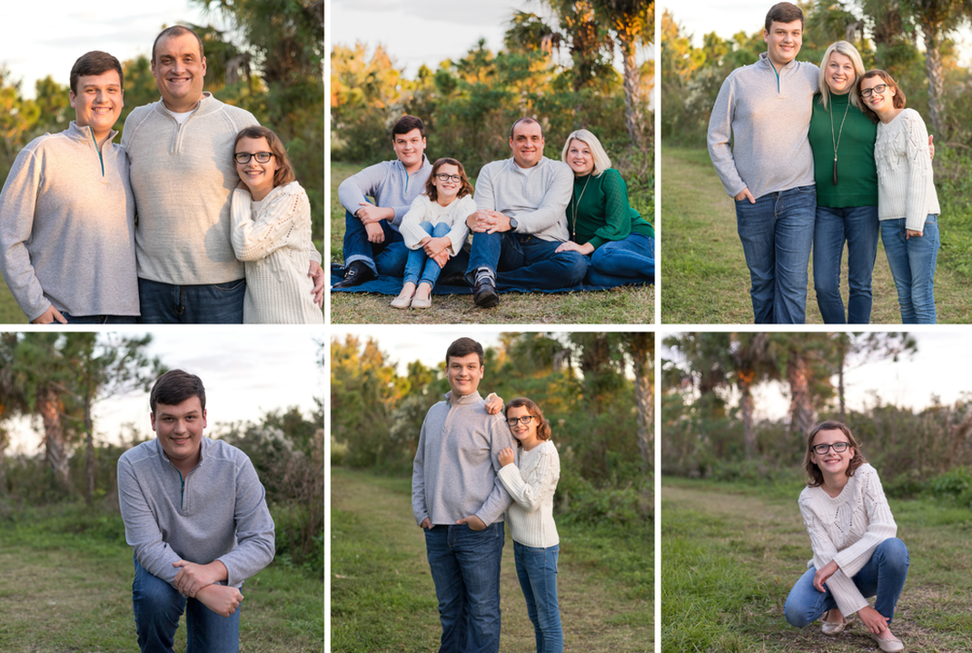 Collage of family of four outside, dad with children, family sitting on ground, mom with children, son kneeling with one knee on ground, brother and sister standing with sister leaning on back of brother, young girl squatting on ground, Celery Fields, Florida, golden hour, lifestyle photography